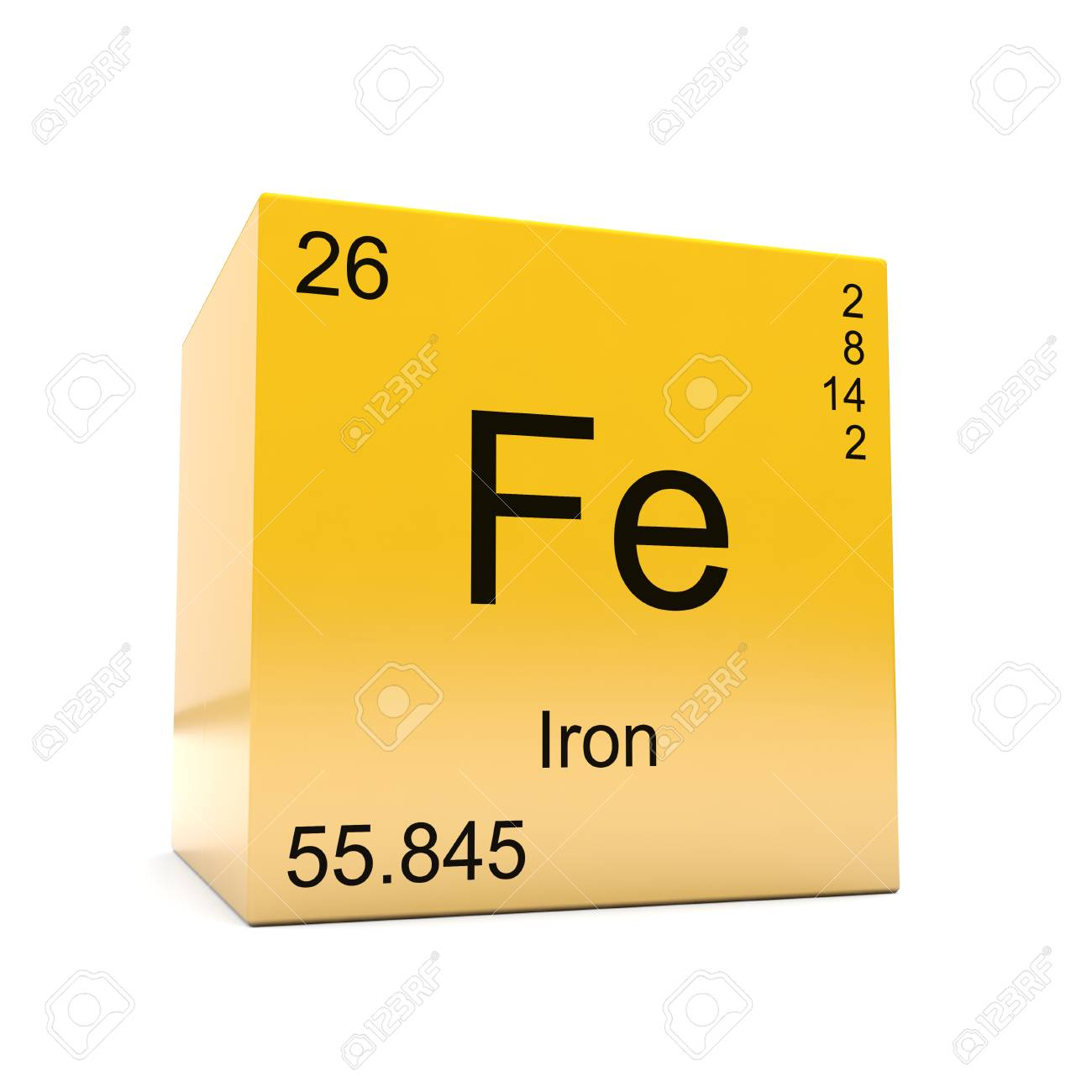 Iron chemical element symbol from the periodic table displayed iron chemical element symbol from the periodic table displayed on glossy yellow cube stock photo urtaz Gallery