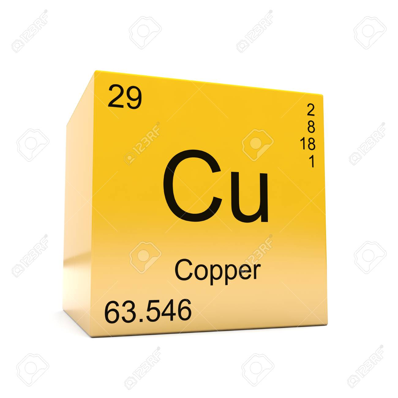 Copper chemical element symbol from the periodic table displayed copper chemical element symbol from the periodic table displayed on glossy yellow cube stock photo urtaz Choice Image