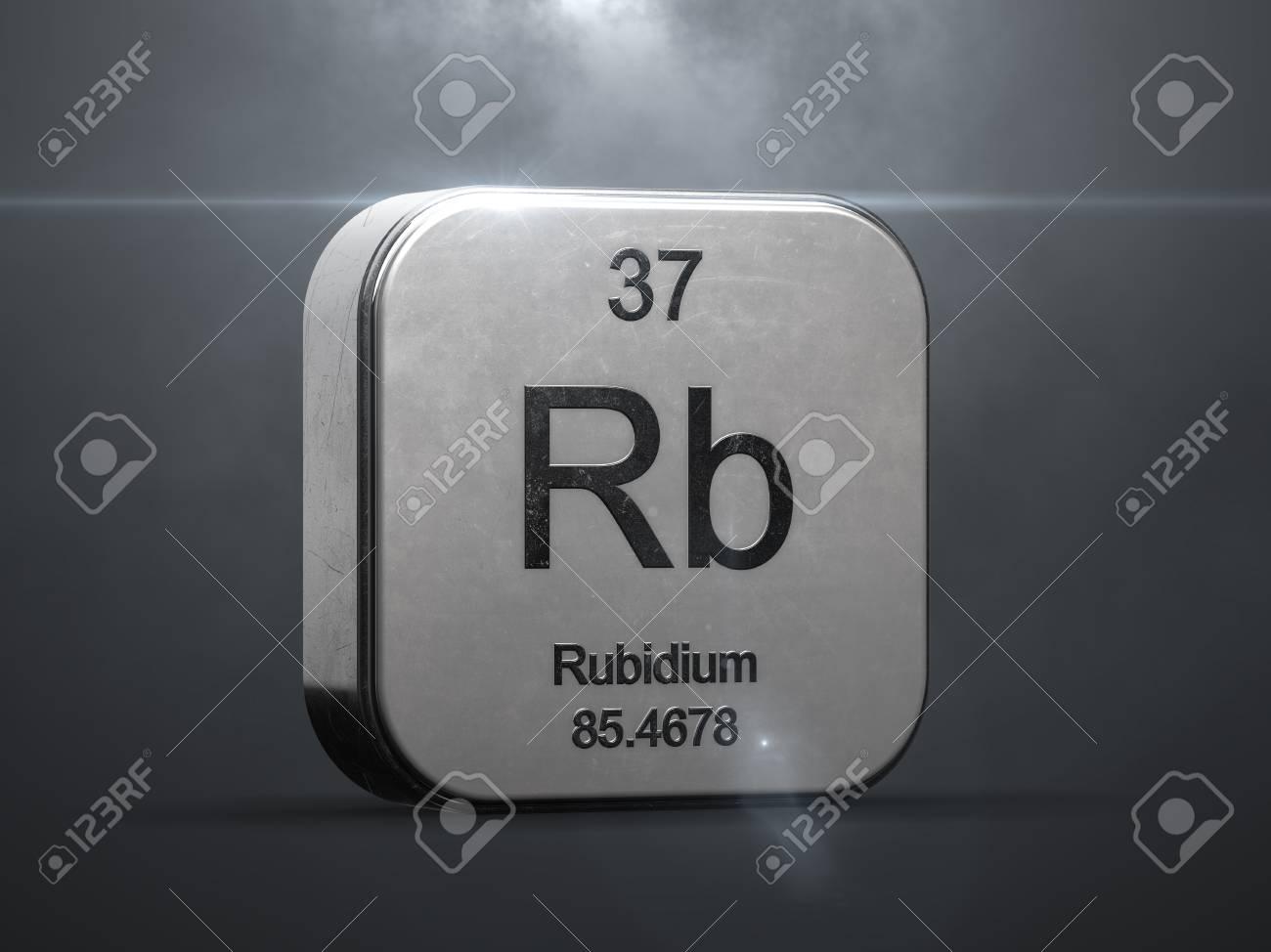rubidium element from the periodic table metallic icon 3d rendered