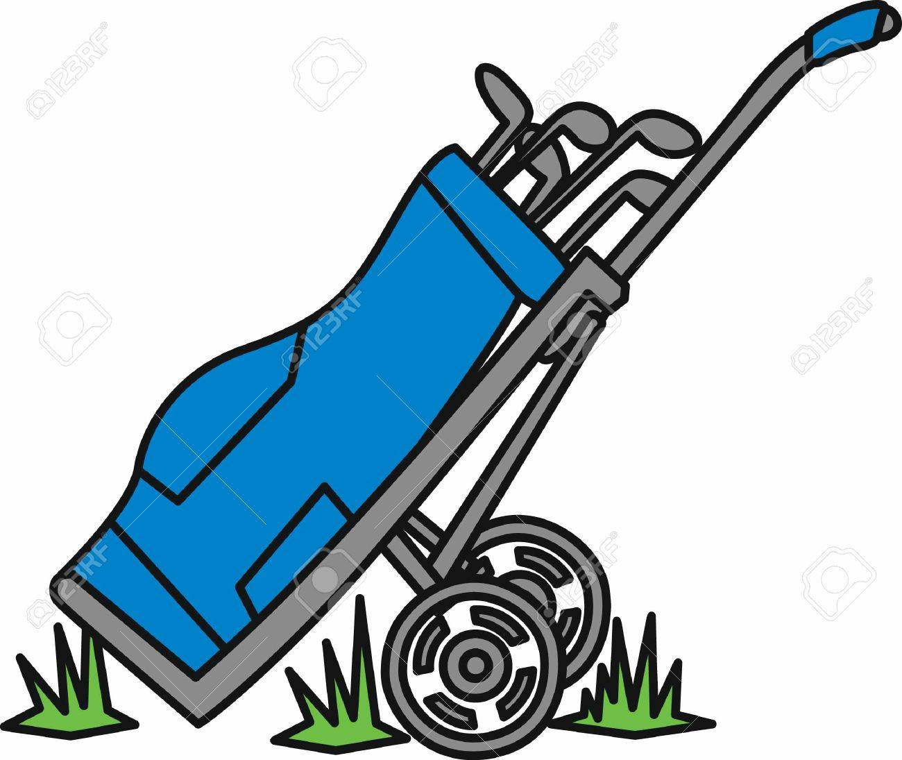 blue golf bag on a hand caddy in the grass royalty free cliparts rh 123rf com