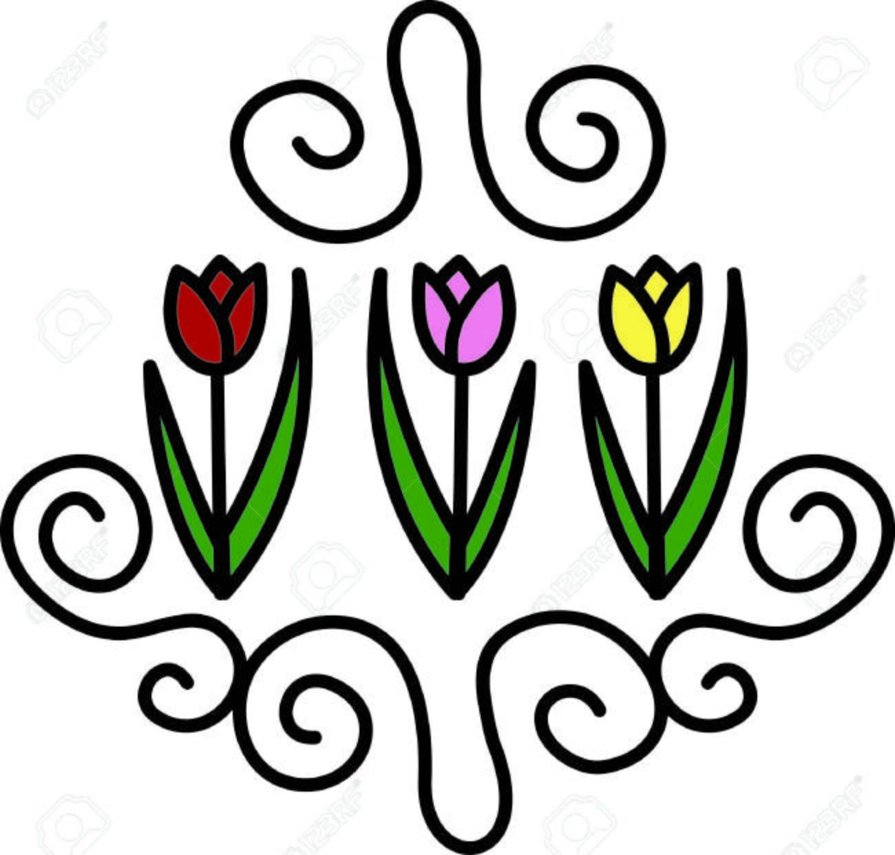 Ajoutez Une Touche De Printemps Avec Ce Dessin Floral Cette Rangee De Tulipes Ajoute De La Couleur Et Un Charme Particulier Clip Art Libres De Droits Vecteurs Et Illustration Image 40817041