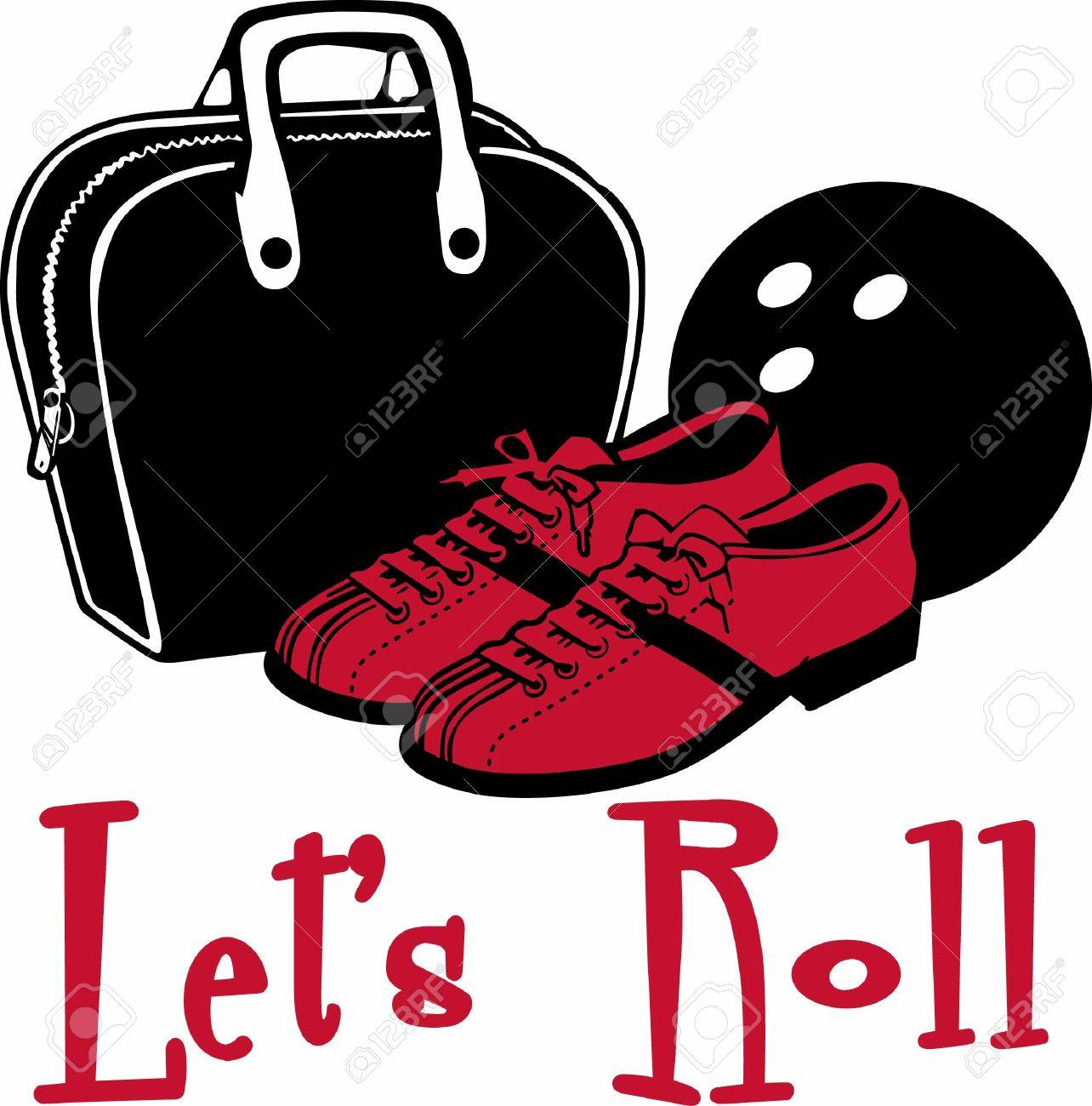 Bowling Bag Ball And Red Shoes Royalty Free Cliparts Vectors And