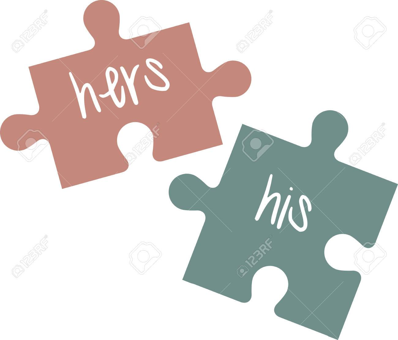 his and hers puzzle pieces make a perfect bridal shower gift stock vector 41240449