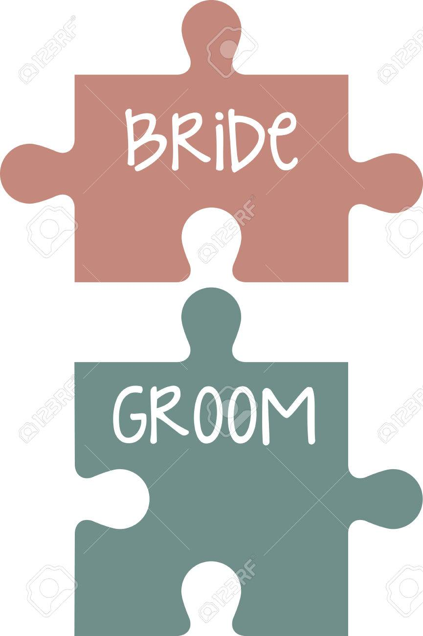 his and hers puzzle pieces make a perfect bridal shower gift stock vector 41240477