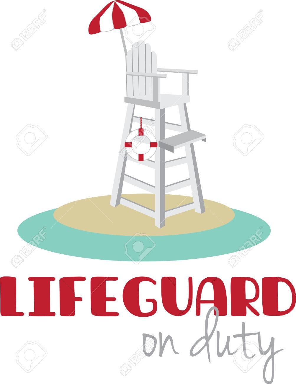 Lifeguard chair cartoon - Tall Lifeguard Chair With A Red And White Umbrella Stock Vector 41241320
