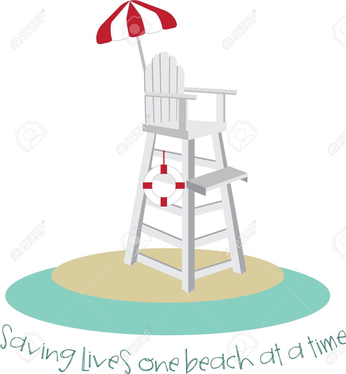 Lifeguard chair cartoon - Tall Lifeguard Chair With A Red And White Umbrella Stock Vector 41241321