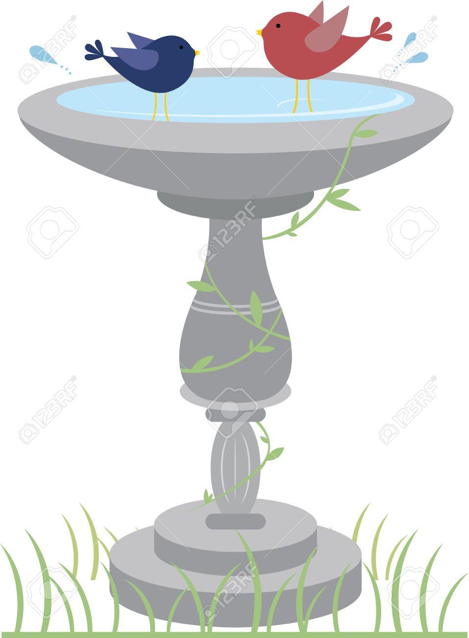 Glückliche Vögel Planschen In Einem Garten Vogeltränke. Lizenzfrei ...