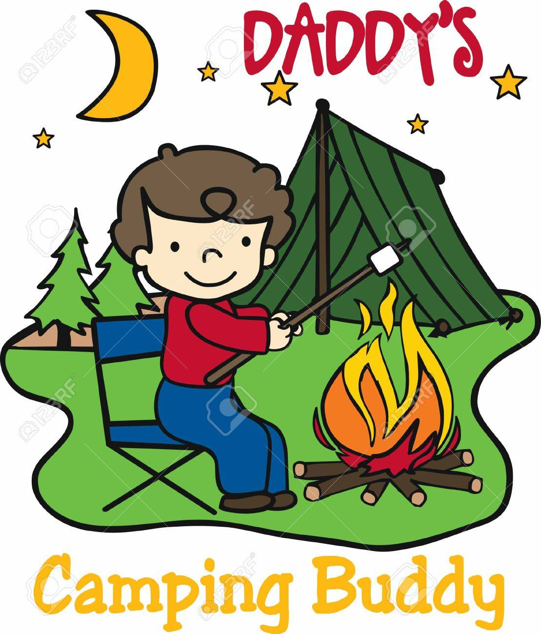 Happy Camper Roasting Marshmallows Over An Open Fire At Night Stock Vector