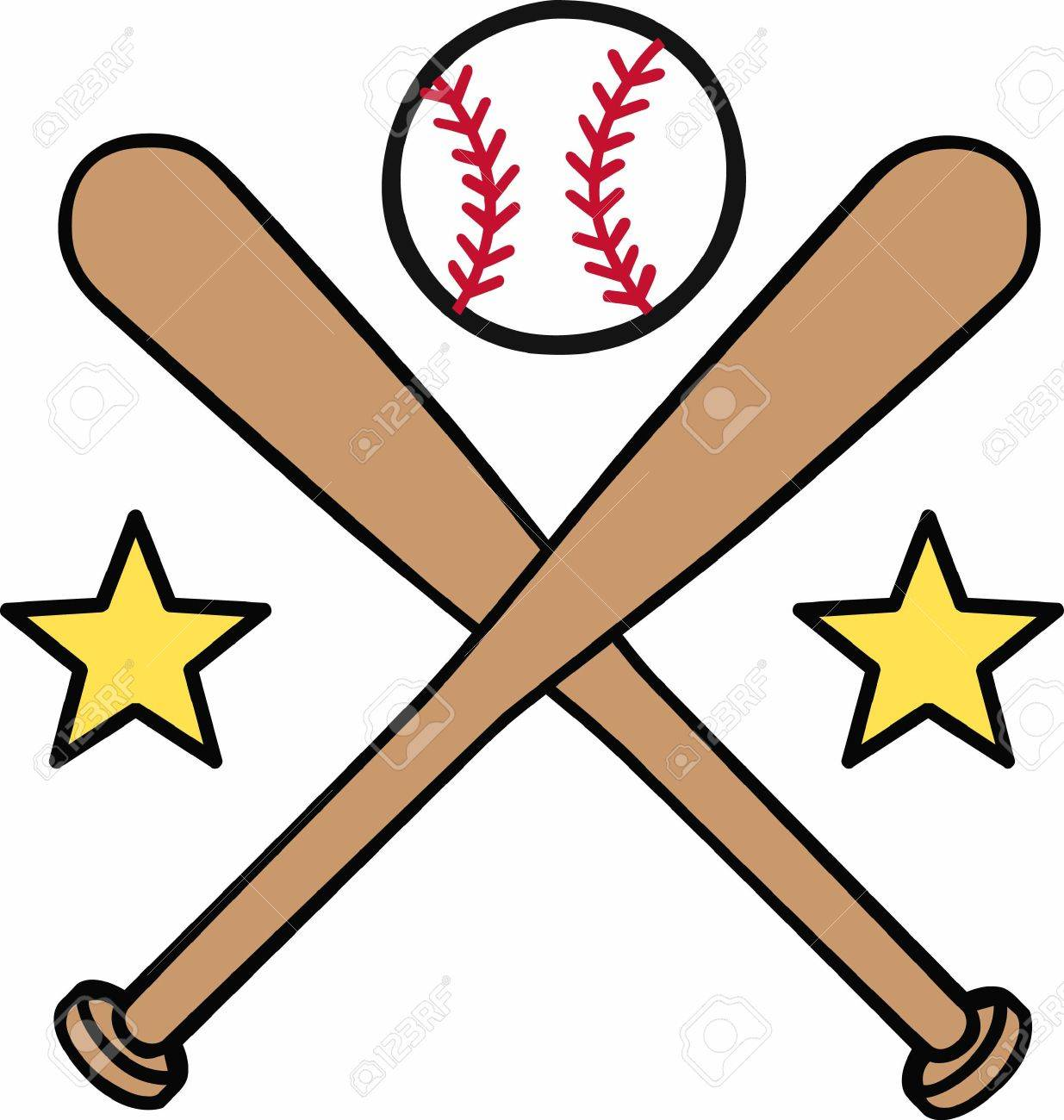 Crossed Baseball Bats With Yellow Stars And A Ball On Top Logo ...