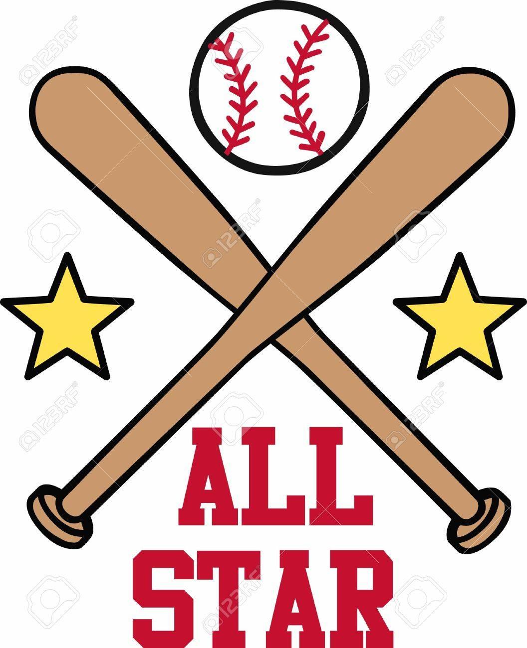 crossed baseball bats with yellow stars and a ball on top logo rh 123rf com Small Leather Baseball's baseball bat and ball logo