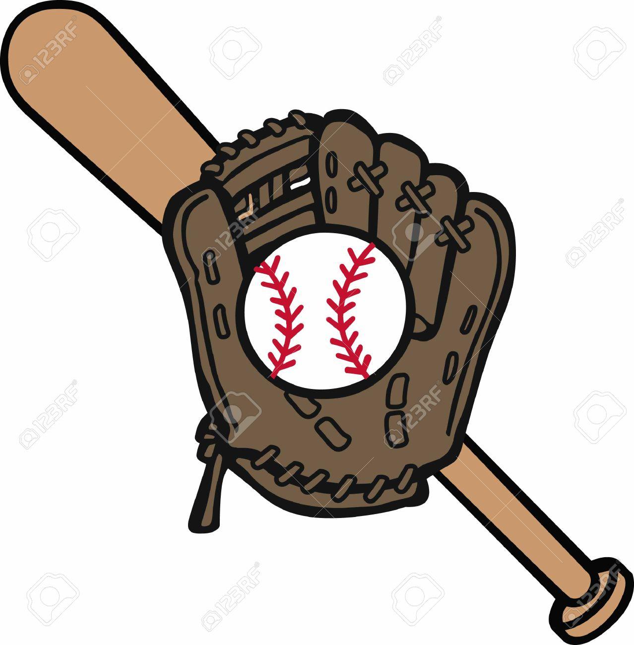 baseball mitt and bat logo royalty free cliparts vectors and rh 123rf com Baseball Bat Vector Logo Baseball Bat and Ball