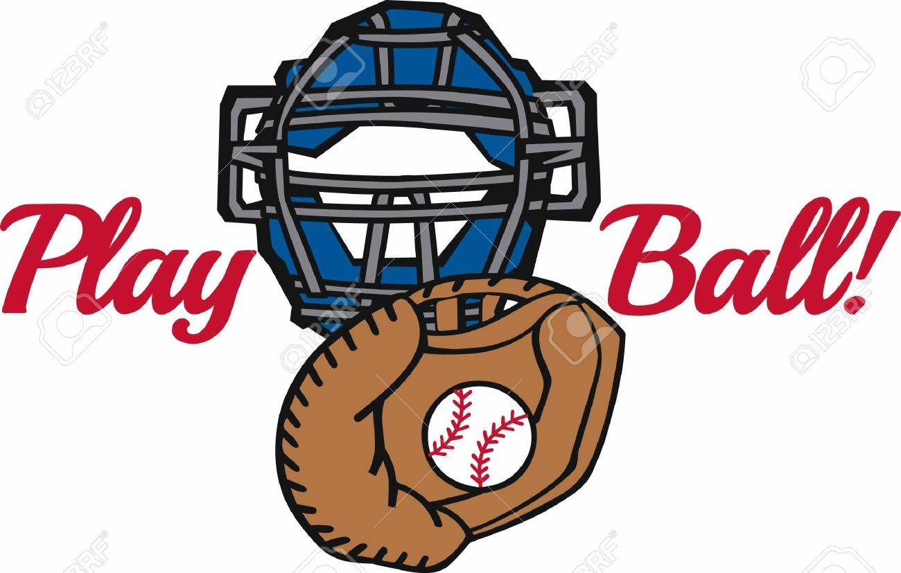Baseball In Catchers Mitt With A Protective Mask Royalty Free