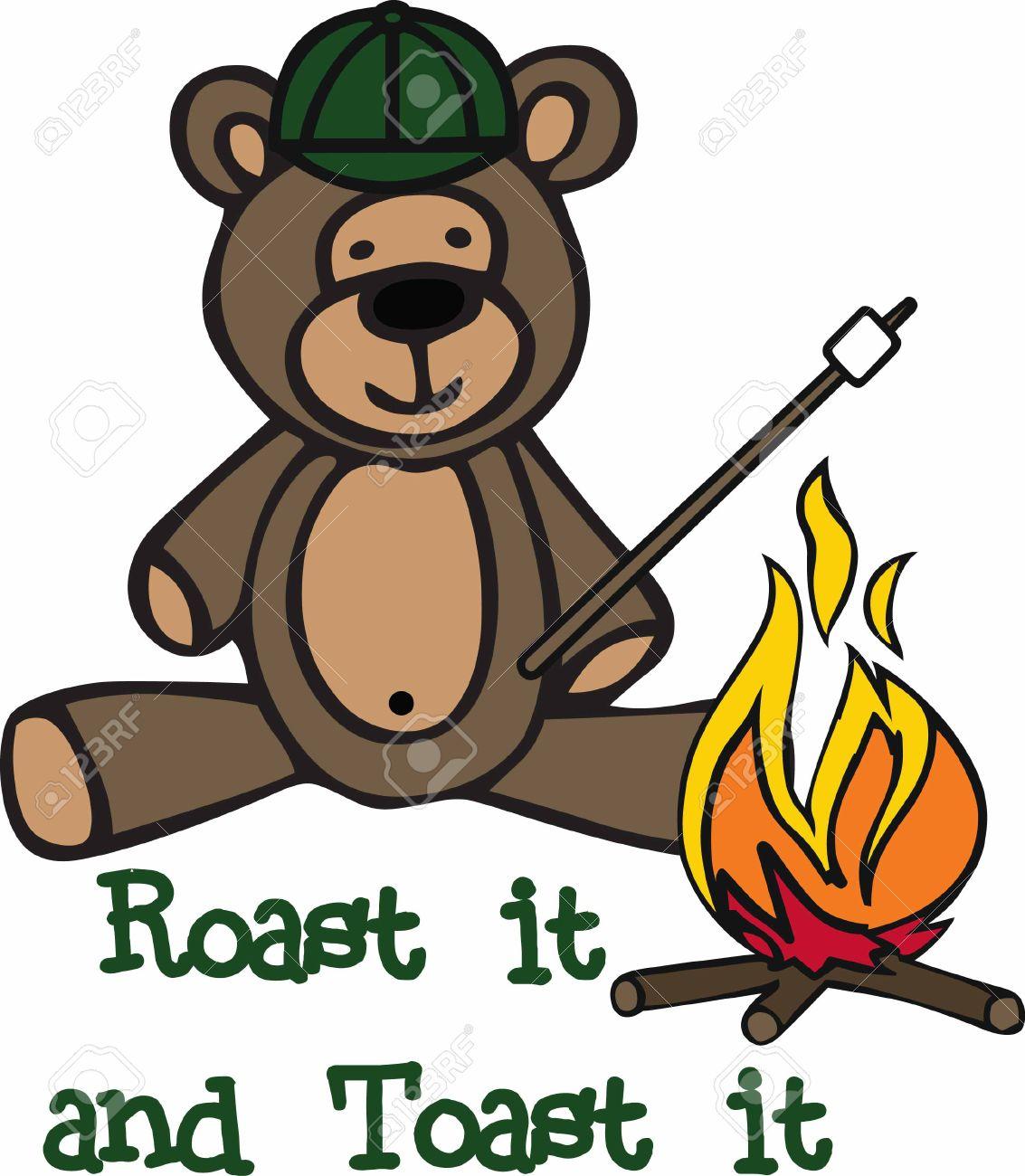 Camping Teddy Bear Cartoon Roasting A Marshmallow At Campfire Stock Vector