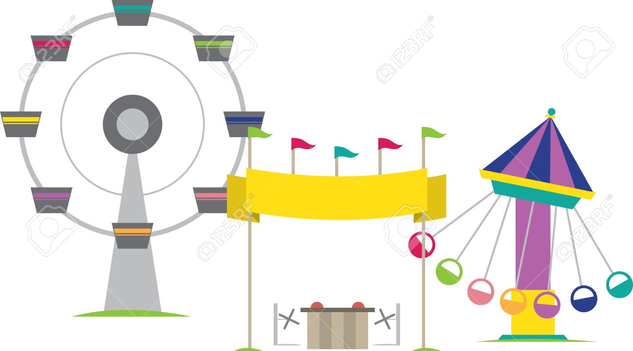 Carnival Amusement Rides And Vending Booth Royalty Free Cliparts