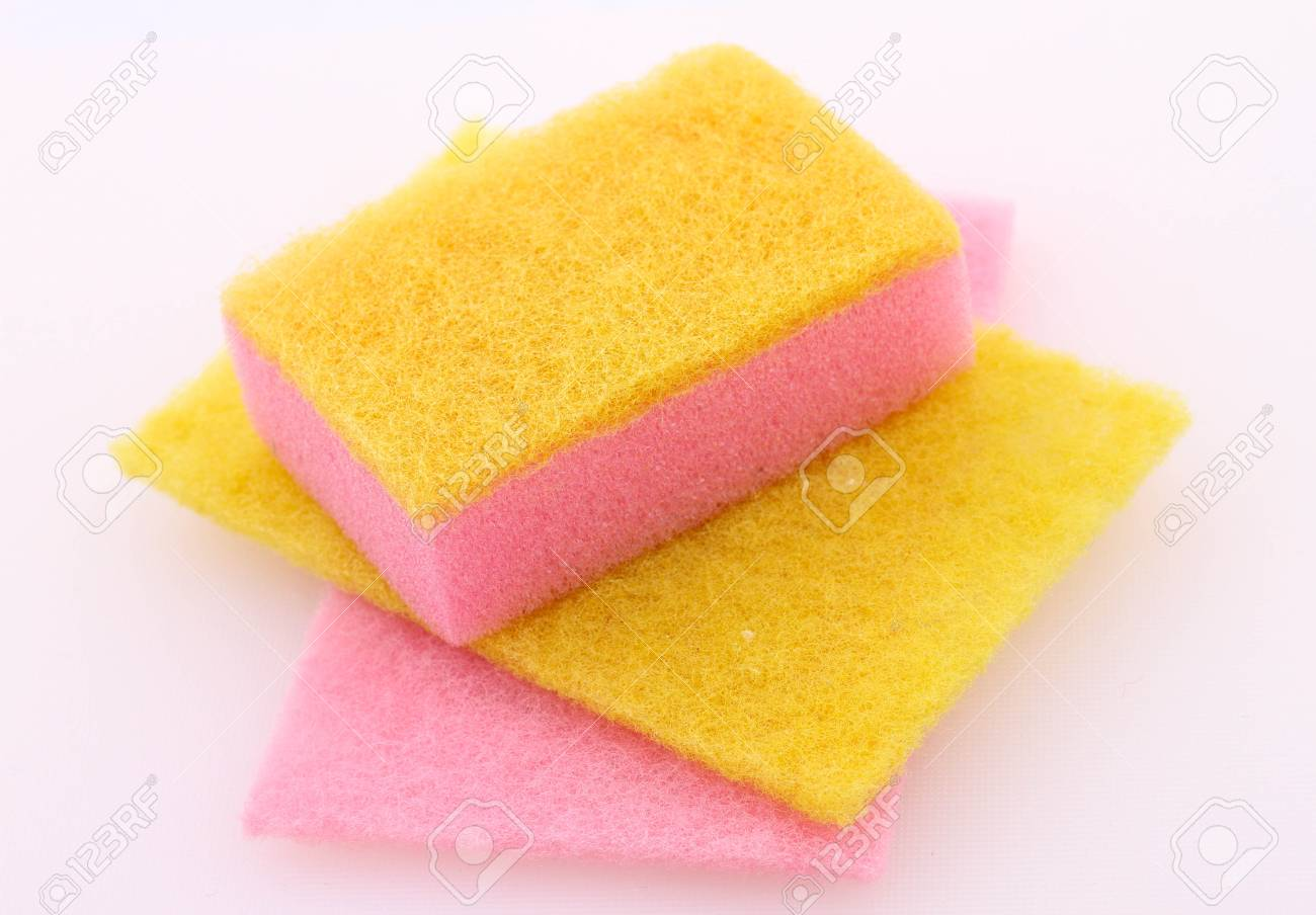Yellow and pink sponges in different shapes Stock Photo - 27124910