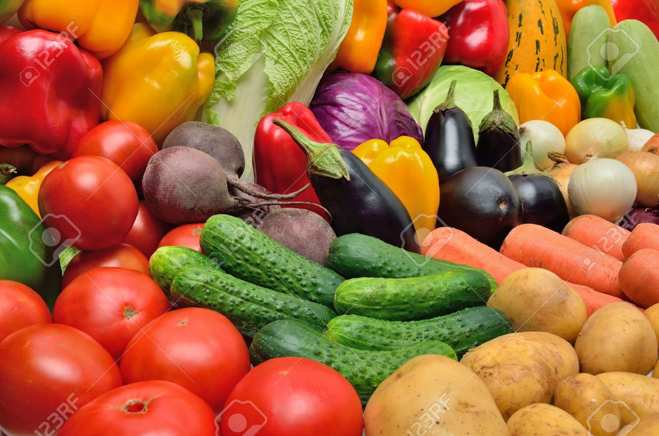 Crop of vegetables. Potatoes, peppers, tomatoes, cucumber, eggplant and other vegetables. Stock Photo - 15393900