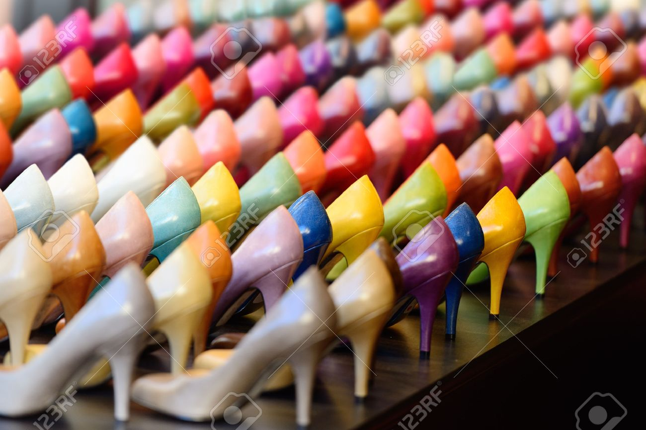 Shoes in shop window display - 39294588