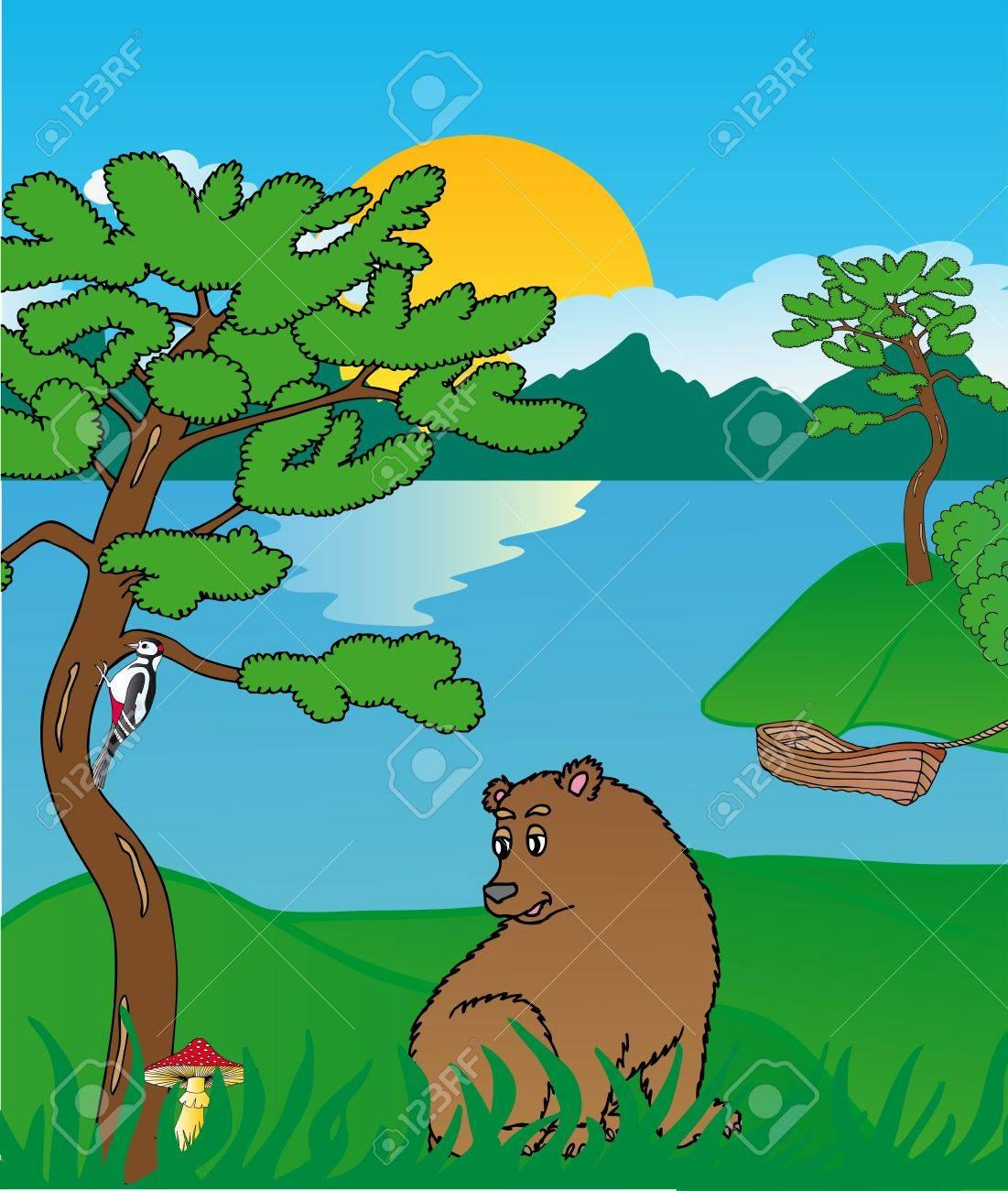 Bear at lake - vector illustration Stock Vector - 14031410