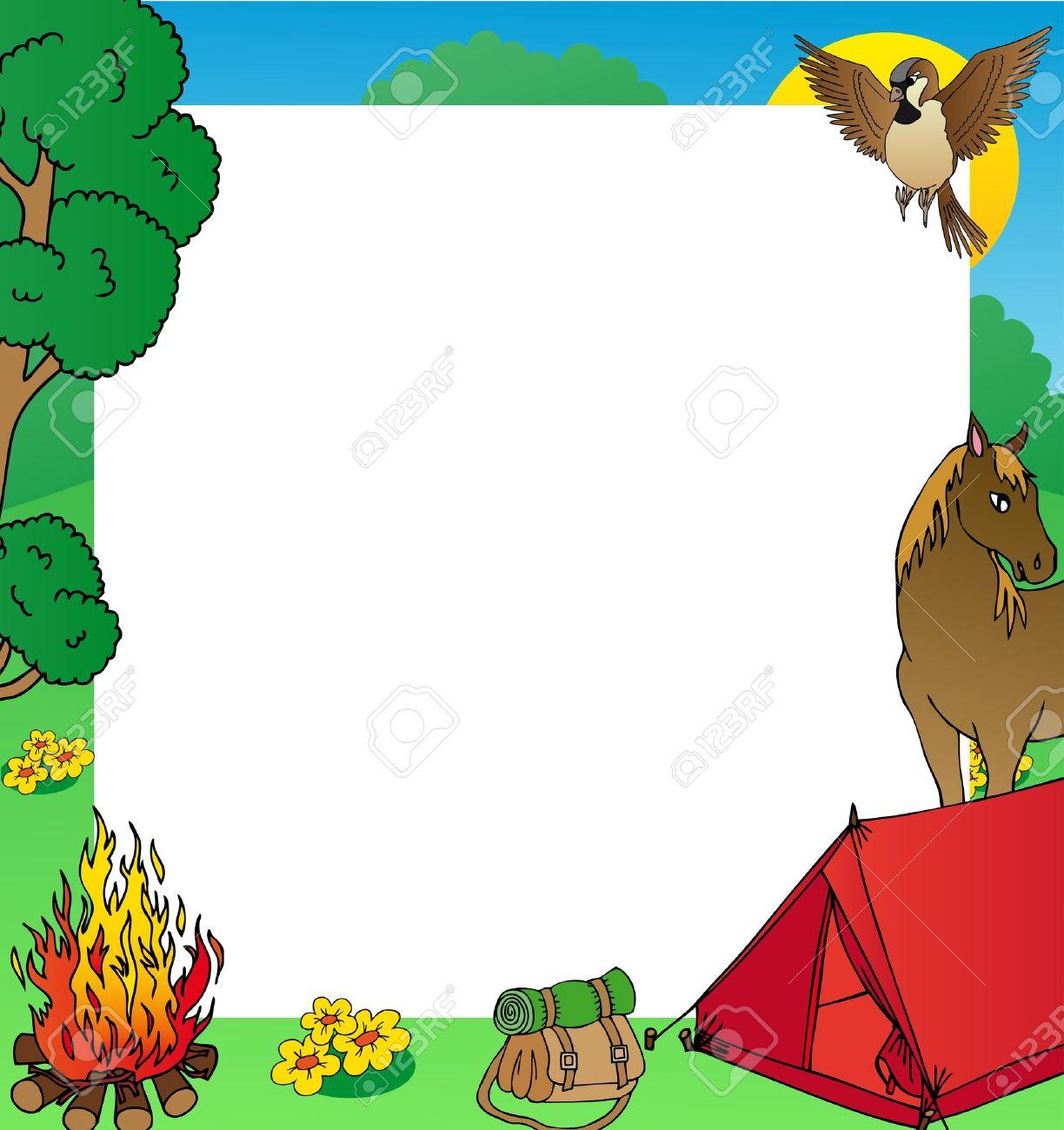 Marco De Verano De Camping - Ilustración Vectorial Ilustraciones ...