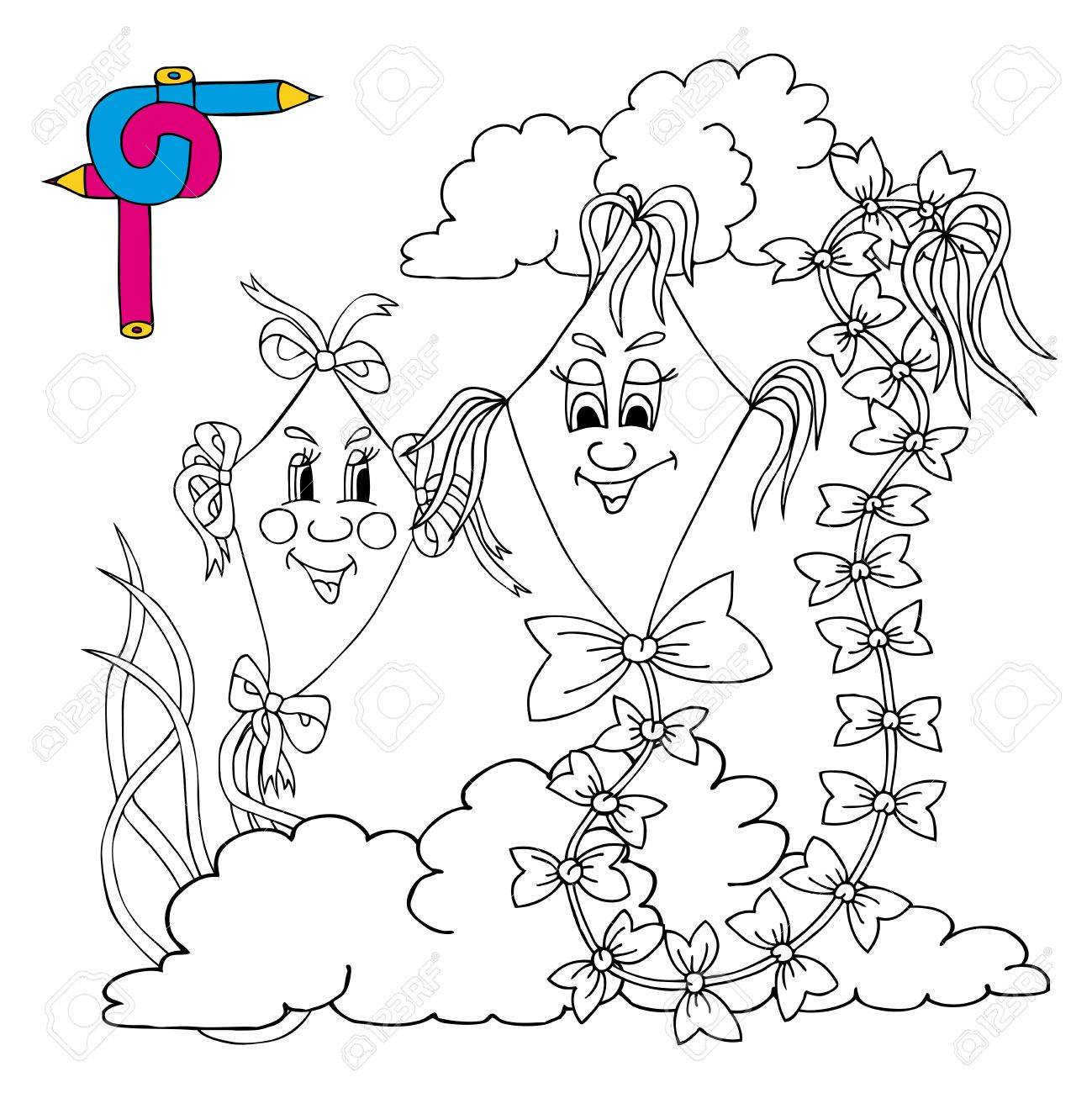 Colorear Cometas Imagen - Ilustración Vectorial. Ilustraciones ...