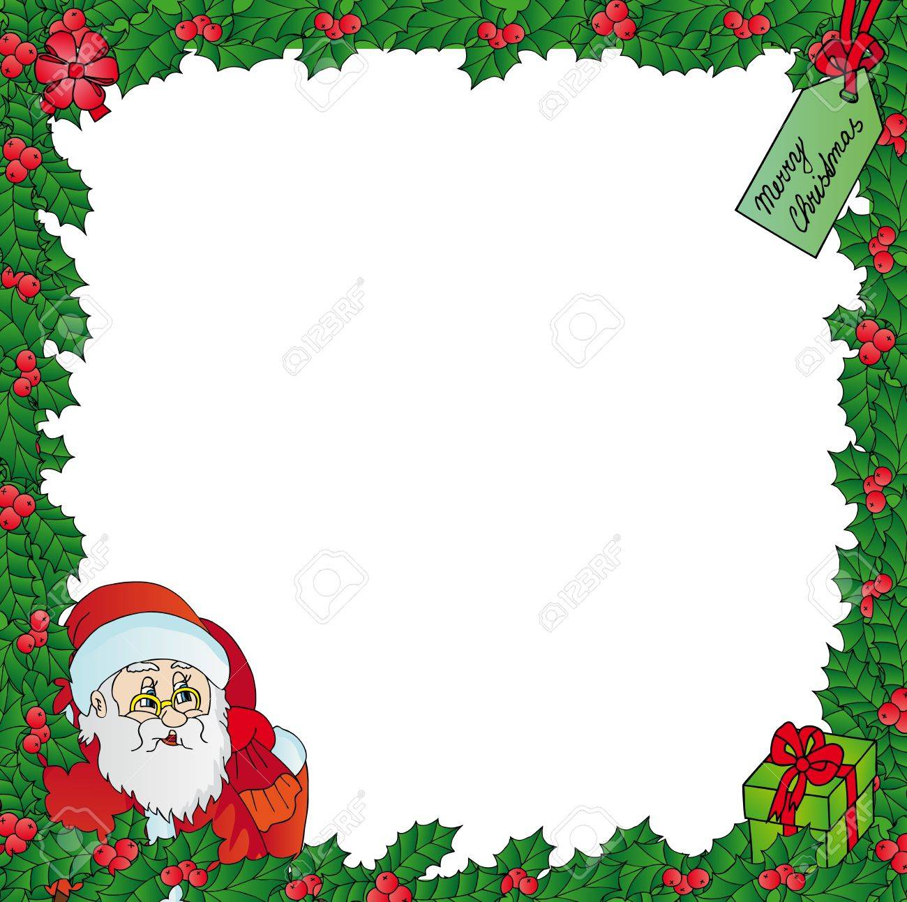 Mistletoe frame with Santa - vector illustration. Stock Vector - 16439896