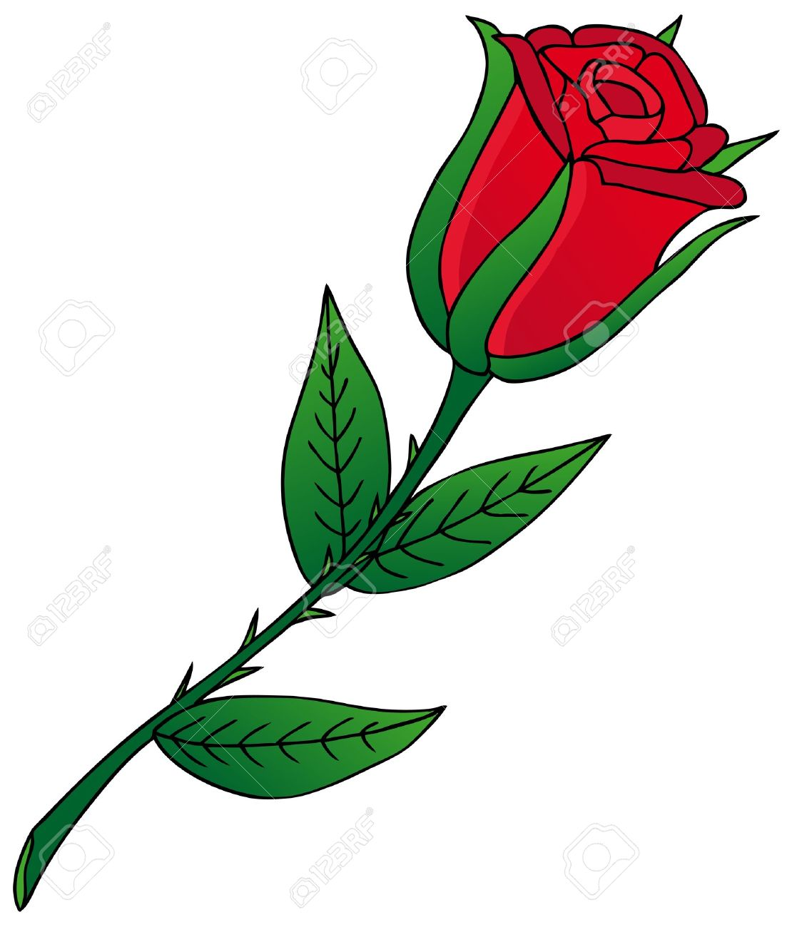 rose on white background royalty free cliparts vectors and stock rh 123rf com cartoon rose pictures Rose Clip Art