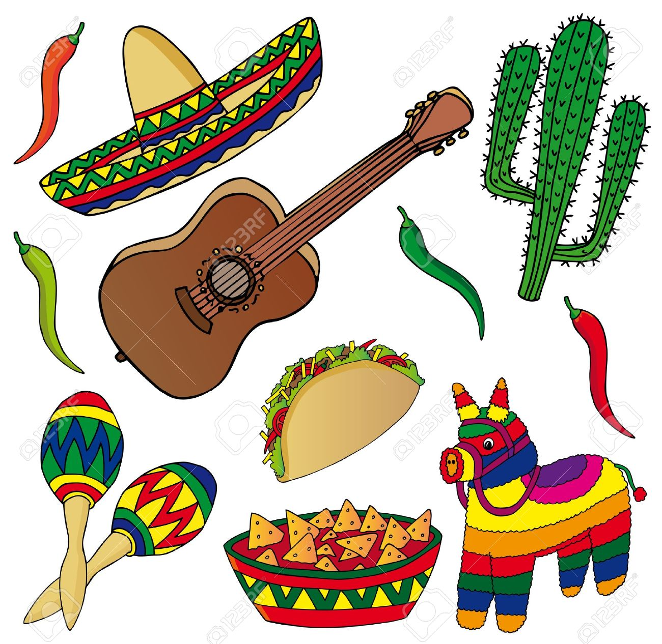 Set of various Mexican images - vector illustration. Stock Vector - 16992702