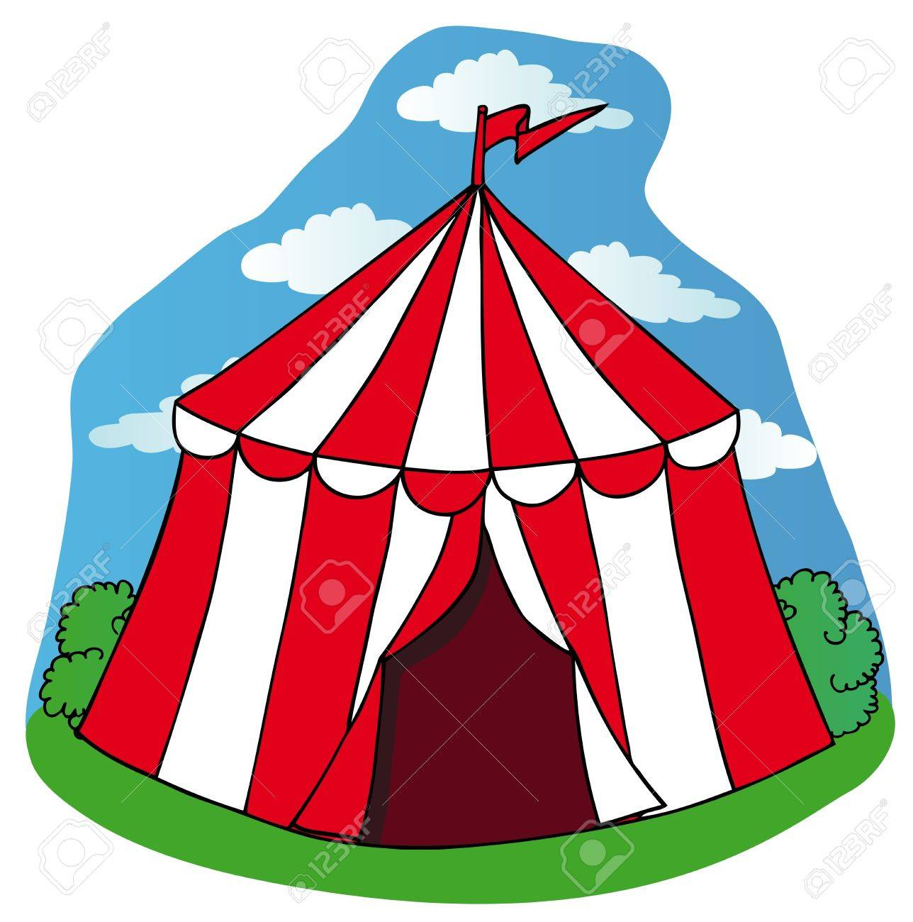 Little circus tent - vector illustration. Stock Vector - 16992693