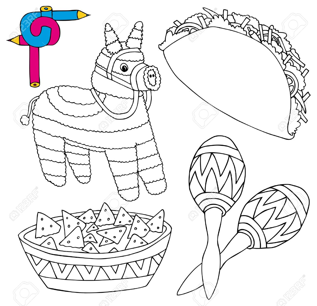 Colorear la imagen de México colección 02 - ilustración vectorial. Foto de  archivo - 16992699 da1be4e1fdc