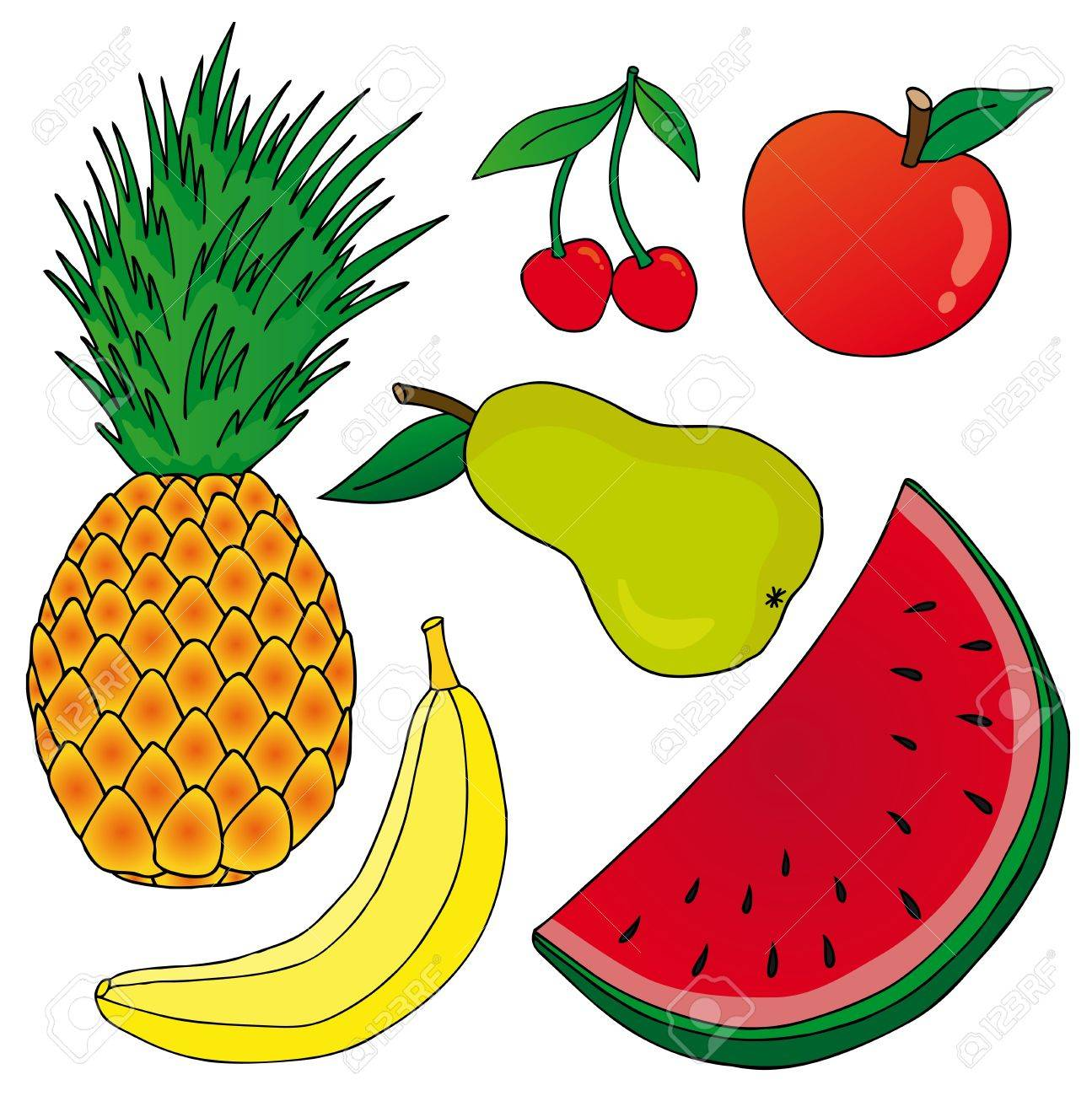 Fruits on white background Stock Vector - 17205774