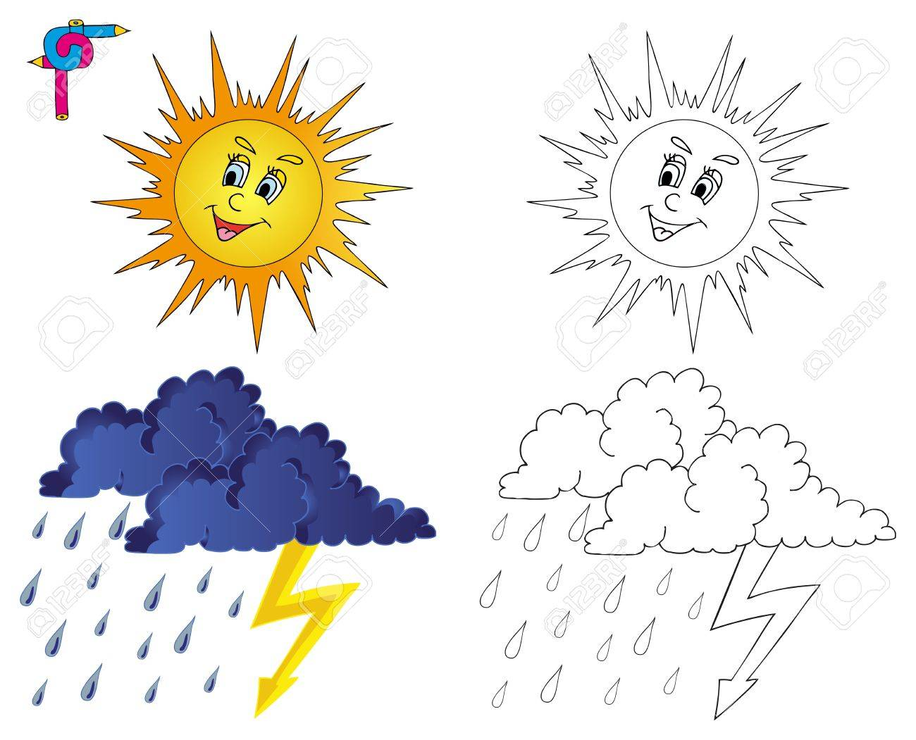 Coloring image weather 3 - vector illustration Stock Vector - 21014512