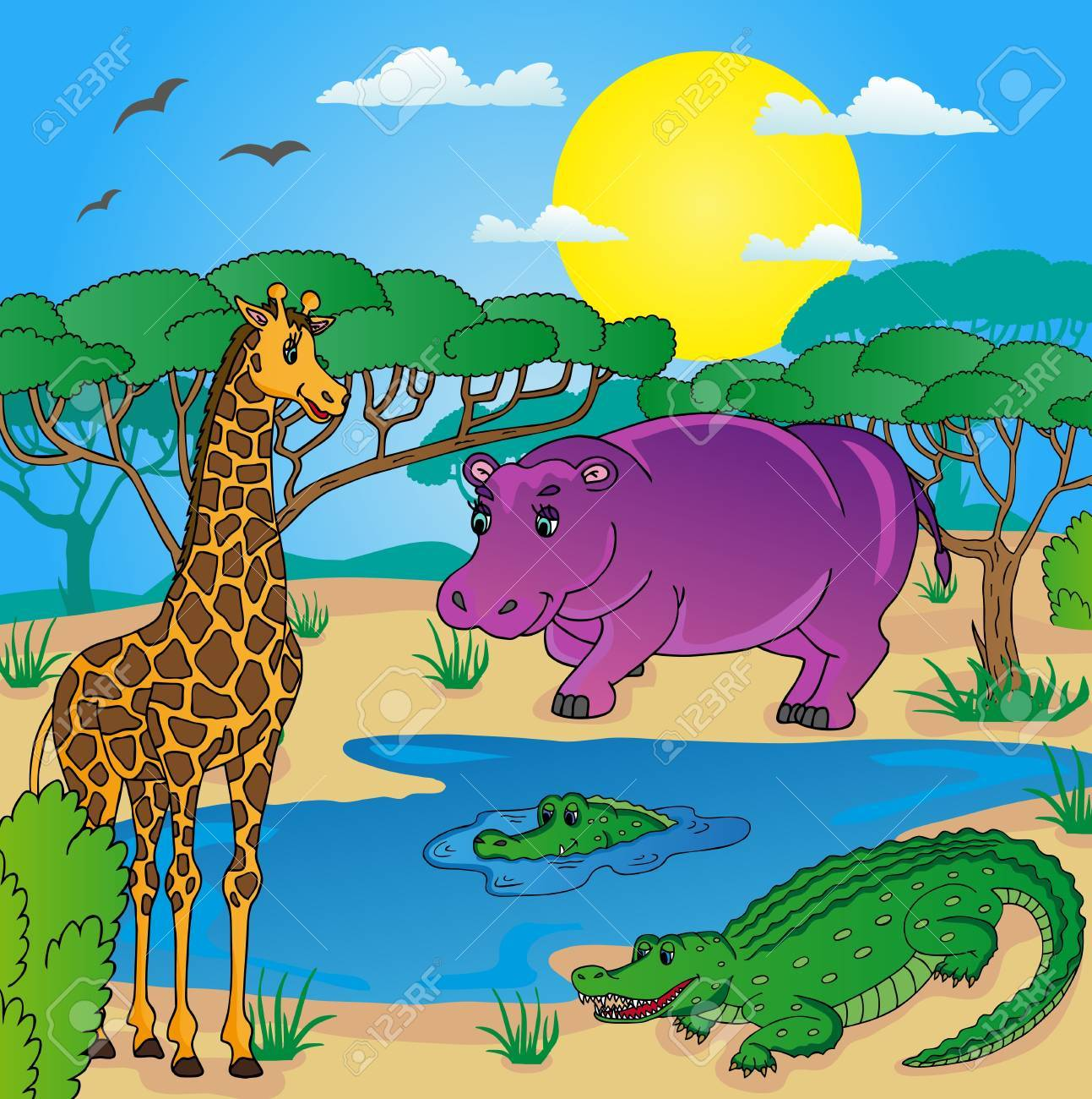 African landscape with animals 01 - vector illustration. Stock Vector - 21479256