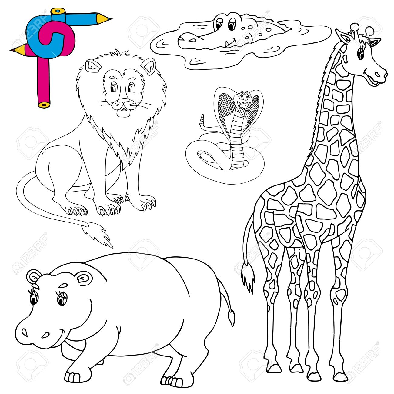 Coloring image wild animals 01 - vector illustration. Stock Vector - 21479259