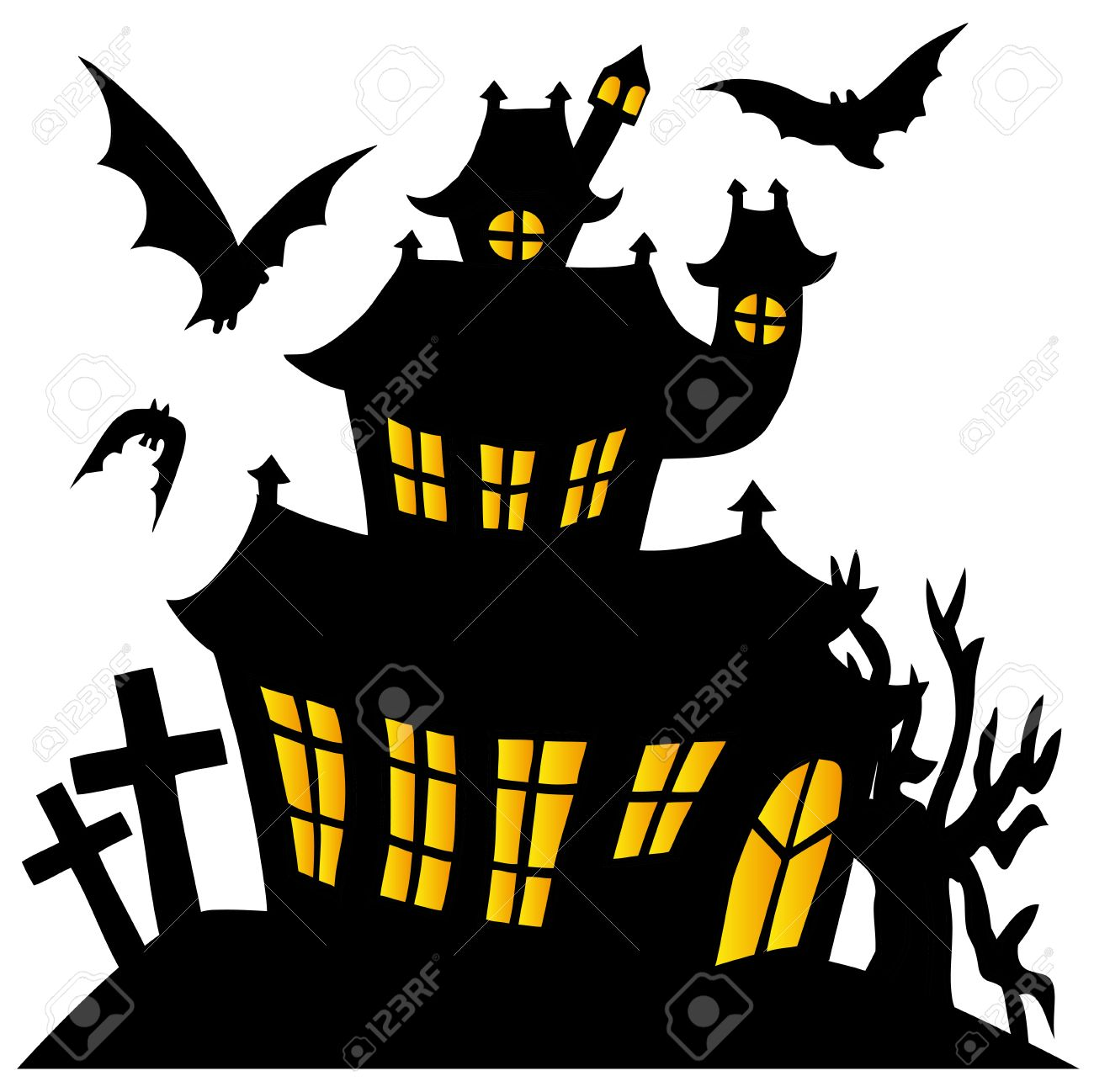 silhouette spooky house royalty free cliparts vectors and stock rh 123rf com