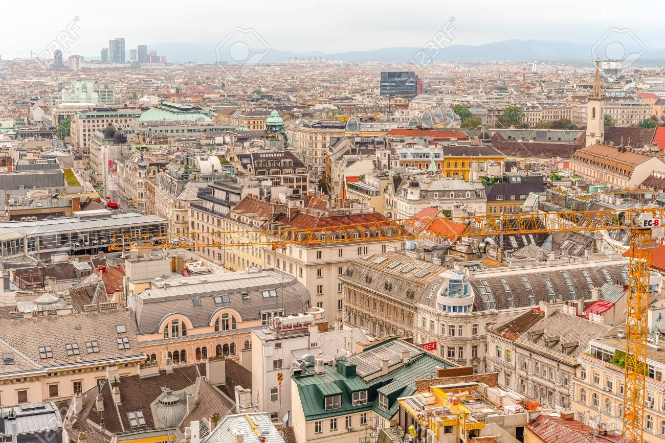 Vienna city panorama view from St. Stephan's cathedral - 113045383