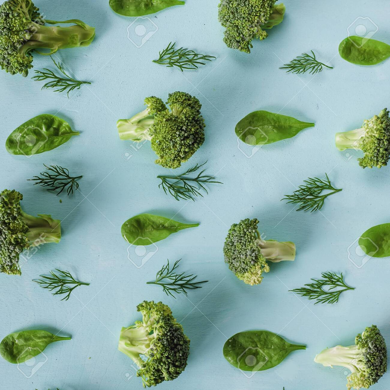 pattern with broccoli, spinach and dill. Vegetables abstract background. Broccoli on the green background. - 151138809
