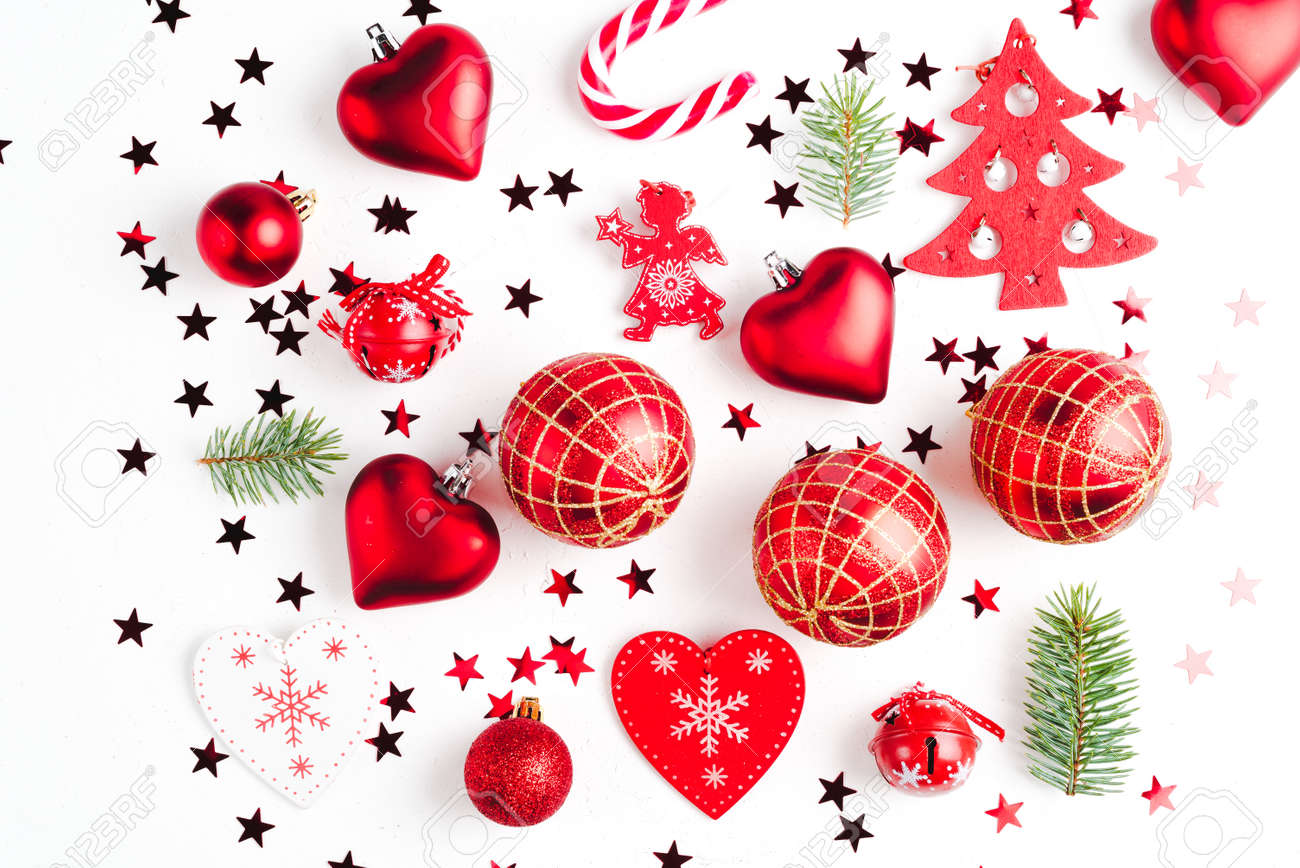 Christmas composition made of red christmas toys. Christmas background. Top view. Flat lay. - 151814692