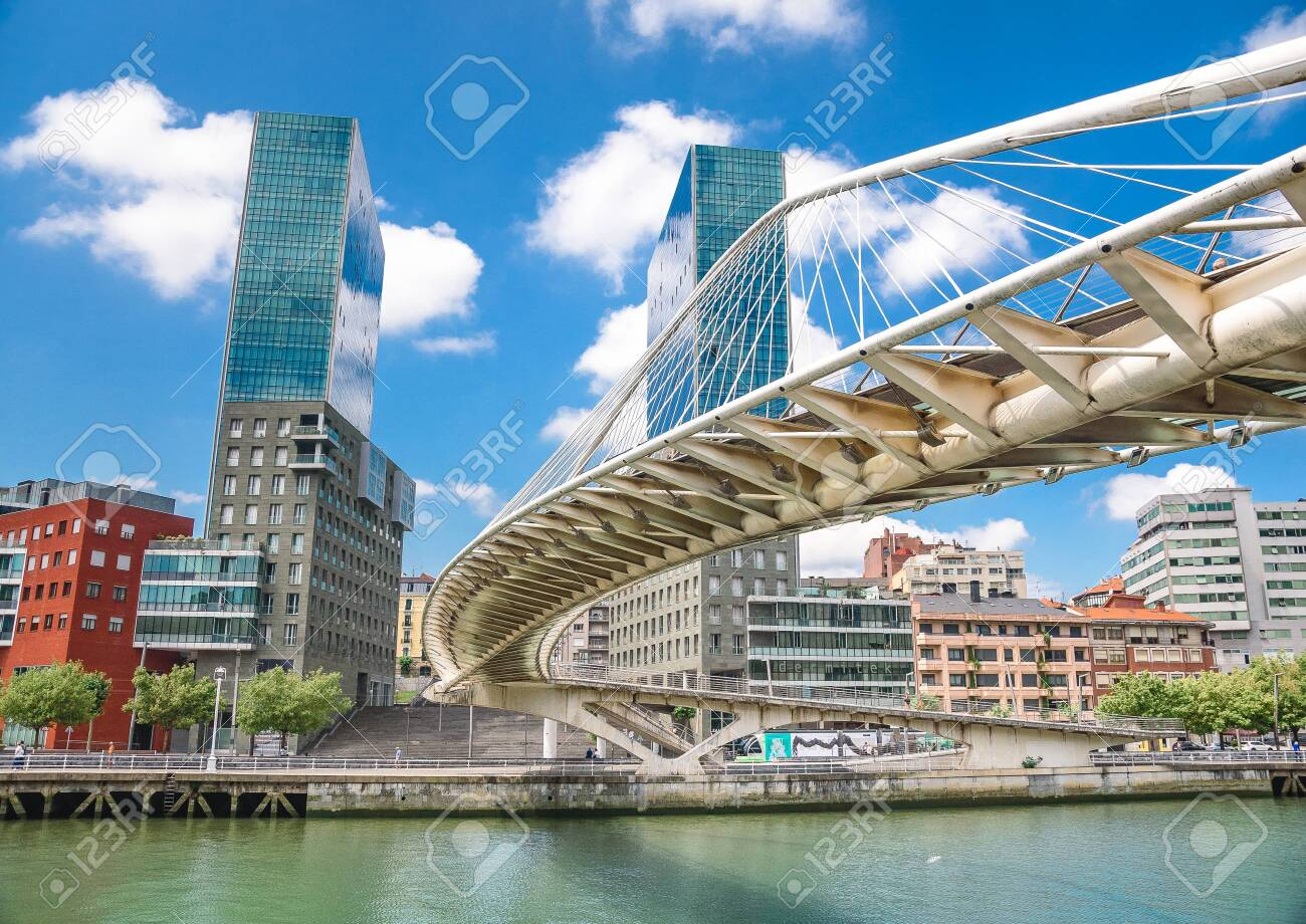 Colorful and modern Bilbao Bridge, Basque Country, Spain. - 153815694