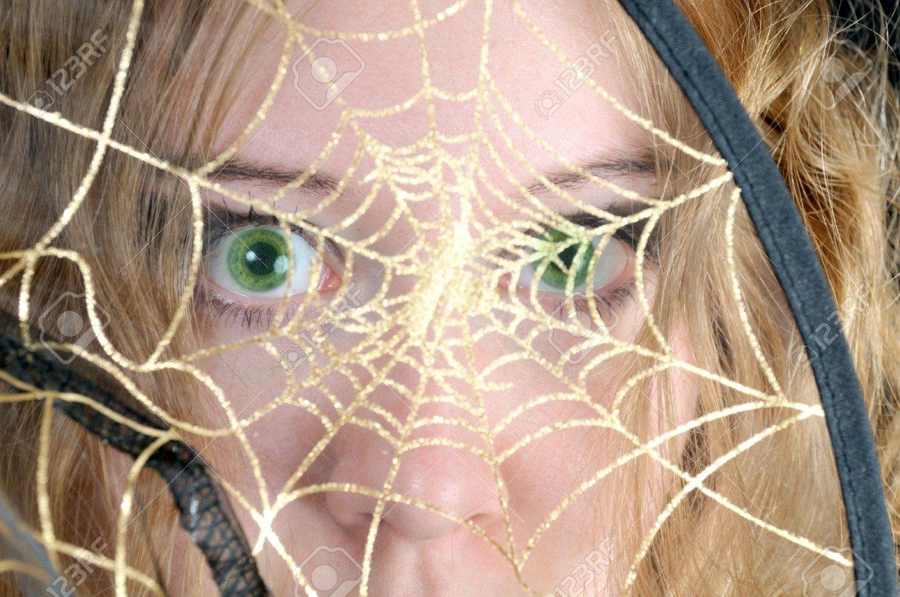 Scared look through spider's web Stock Photo - 3887901