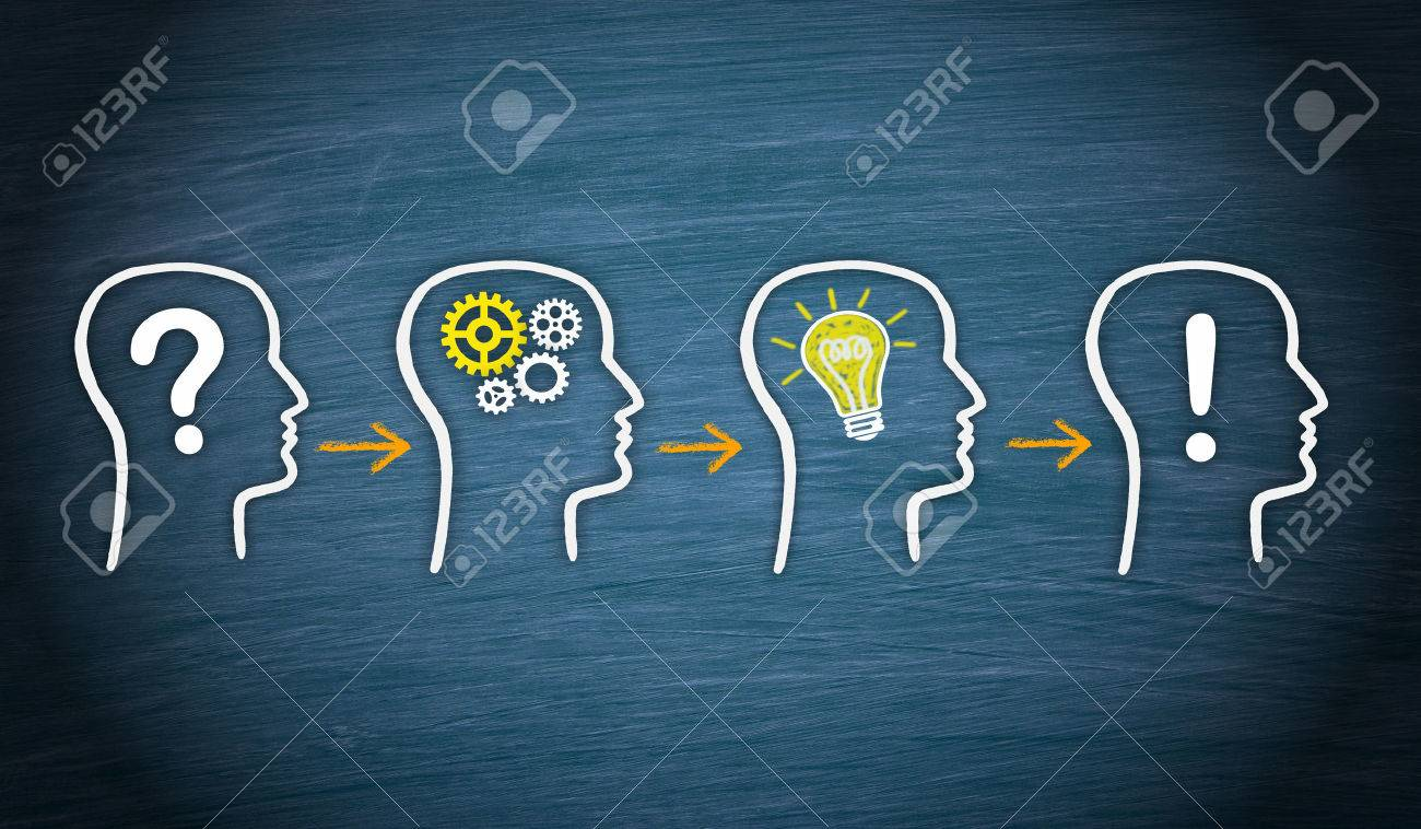 Problem - Think - Idea - Solution Diagram Stock Photo, Picture And ...