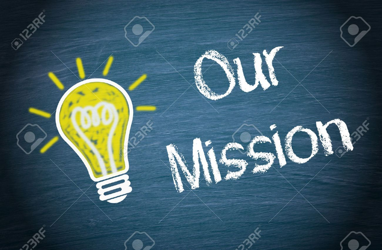 Our Mission - light bulb with text Stock Photo - 49138616