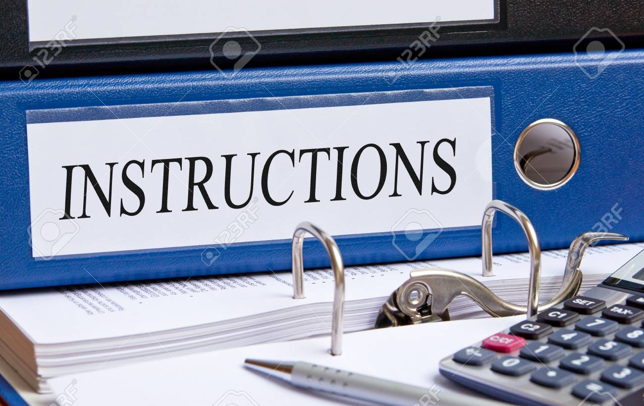 Instructions - blue binder in the office - 50352718