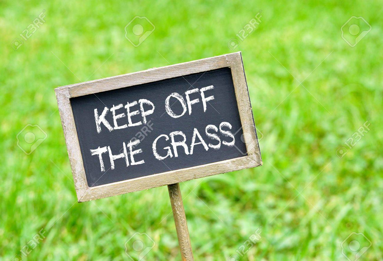 Keep off the grass - chalkboard on grass background - 81959414