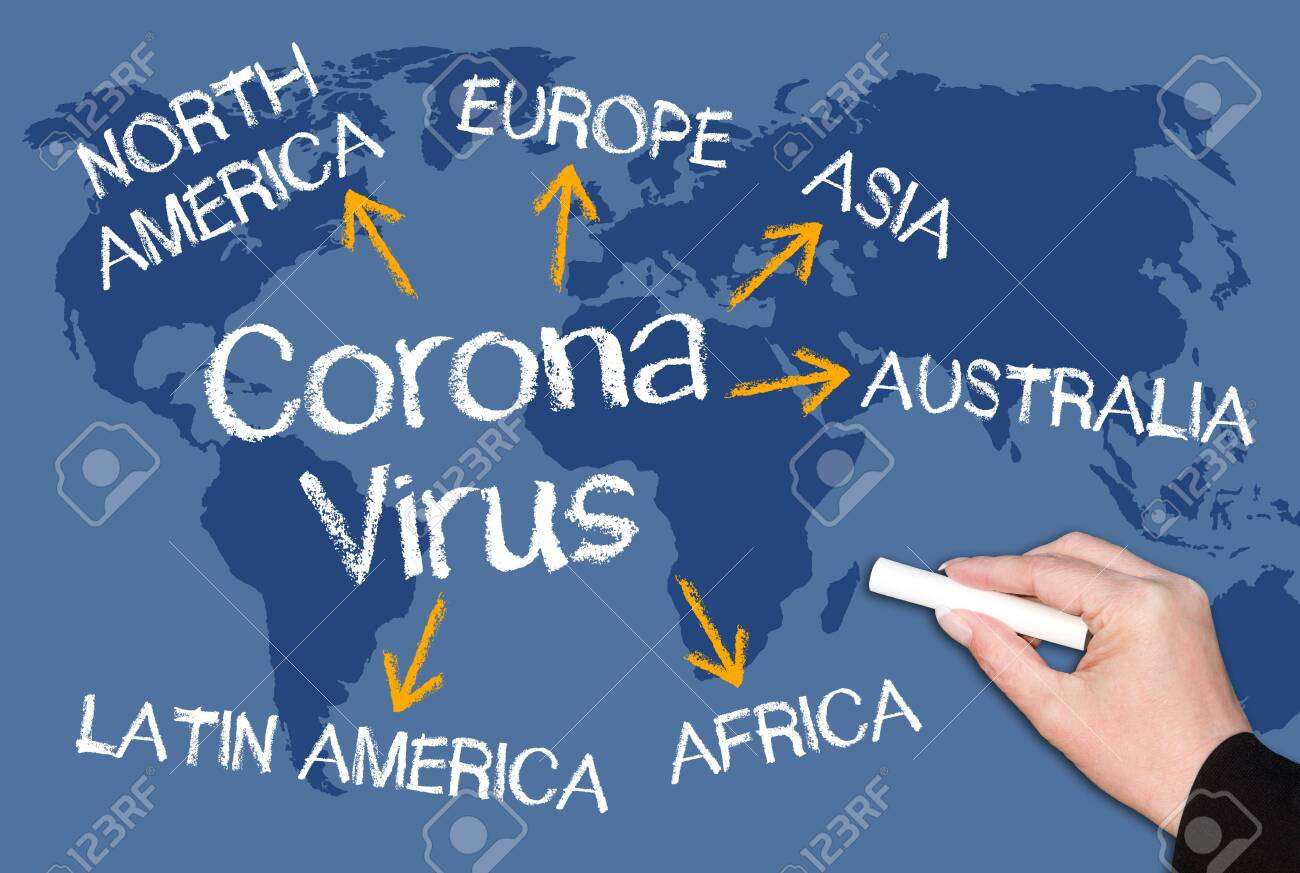 Coronavirus concept on blue world map background, global viral disease, pandemic outbreak - 147116148
