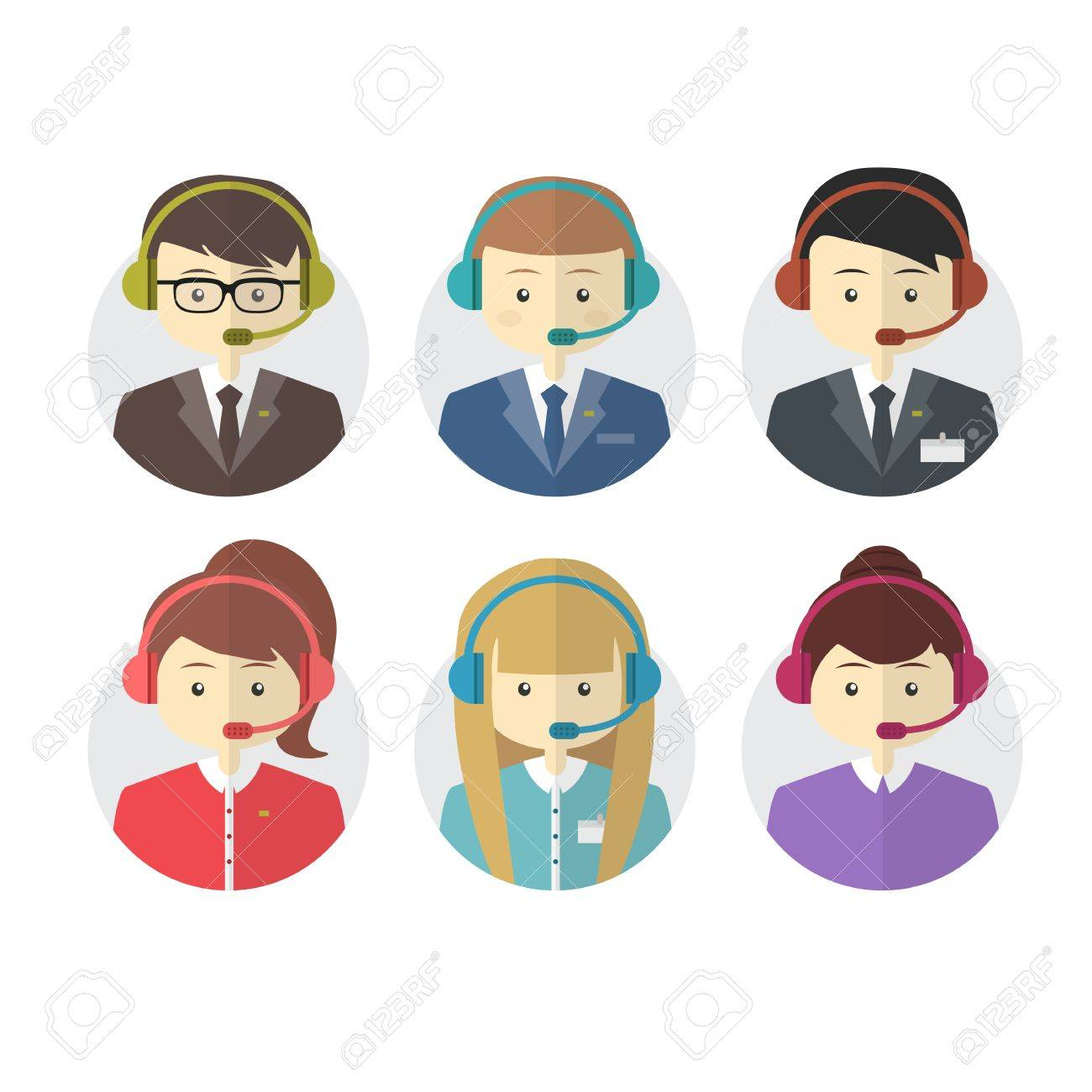 Call center operator icons with a smiling friendly man and woman wearing headsets on round web buttons vector illustration - 34885053