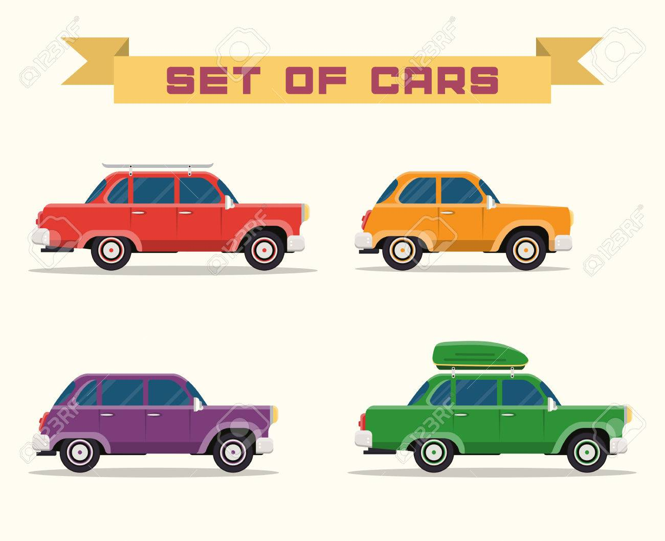 set with vintage cars, flat style - 38191561