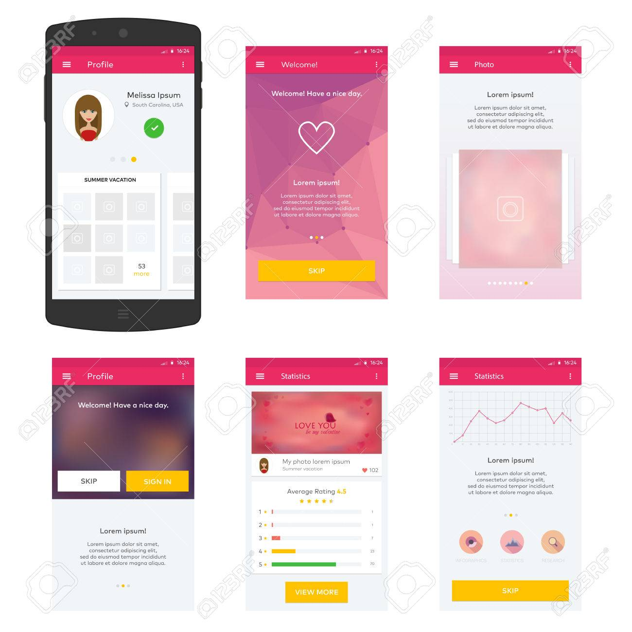 Flat Mobile Web UI Concept for mobile - 38191873