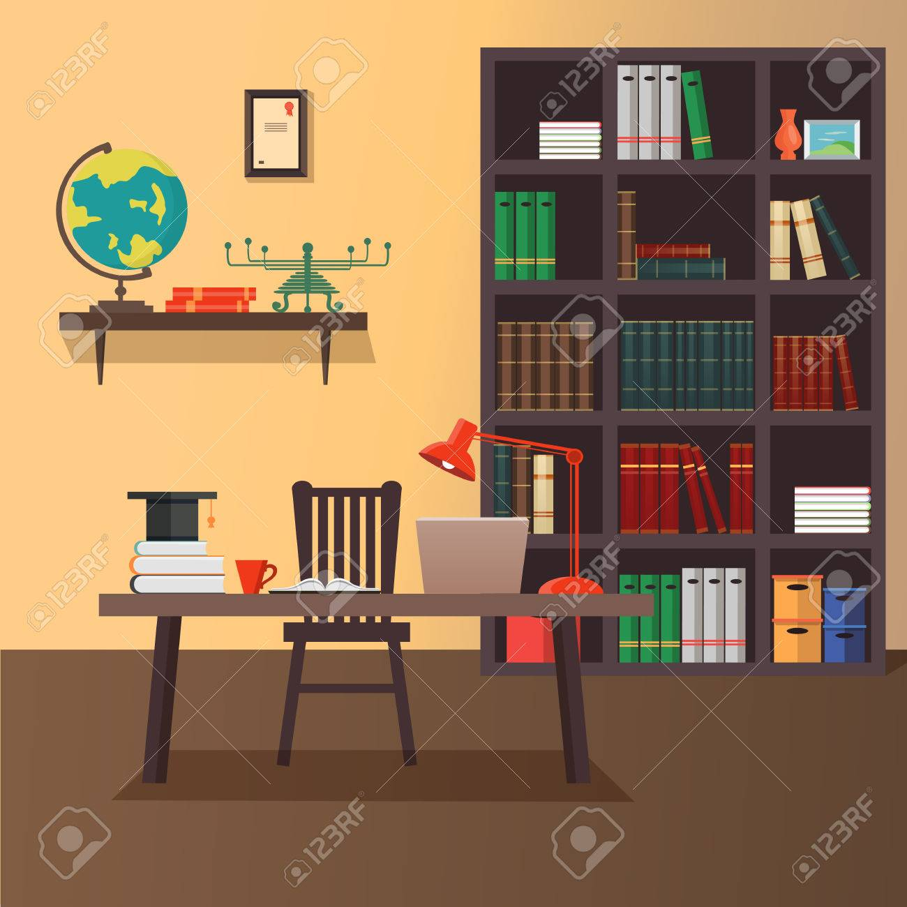 home office workspace. Illustration Of Modern Home Office Workspace. Flat Minimalistic Style. Design Stock Vector Workspace S