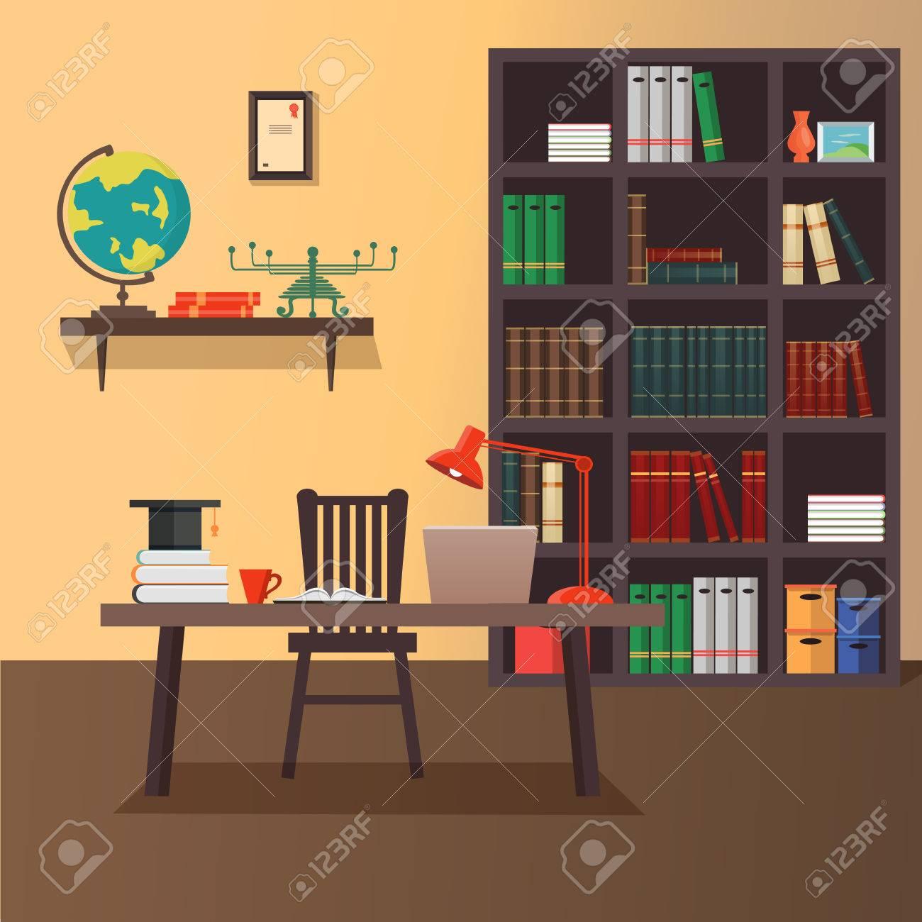 geeks home office workspace. Home Office Workspace. Illustration Of Modern Flat Minimalistic Style. Design Geeks Workspace L
