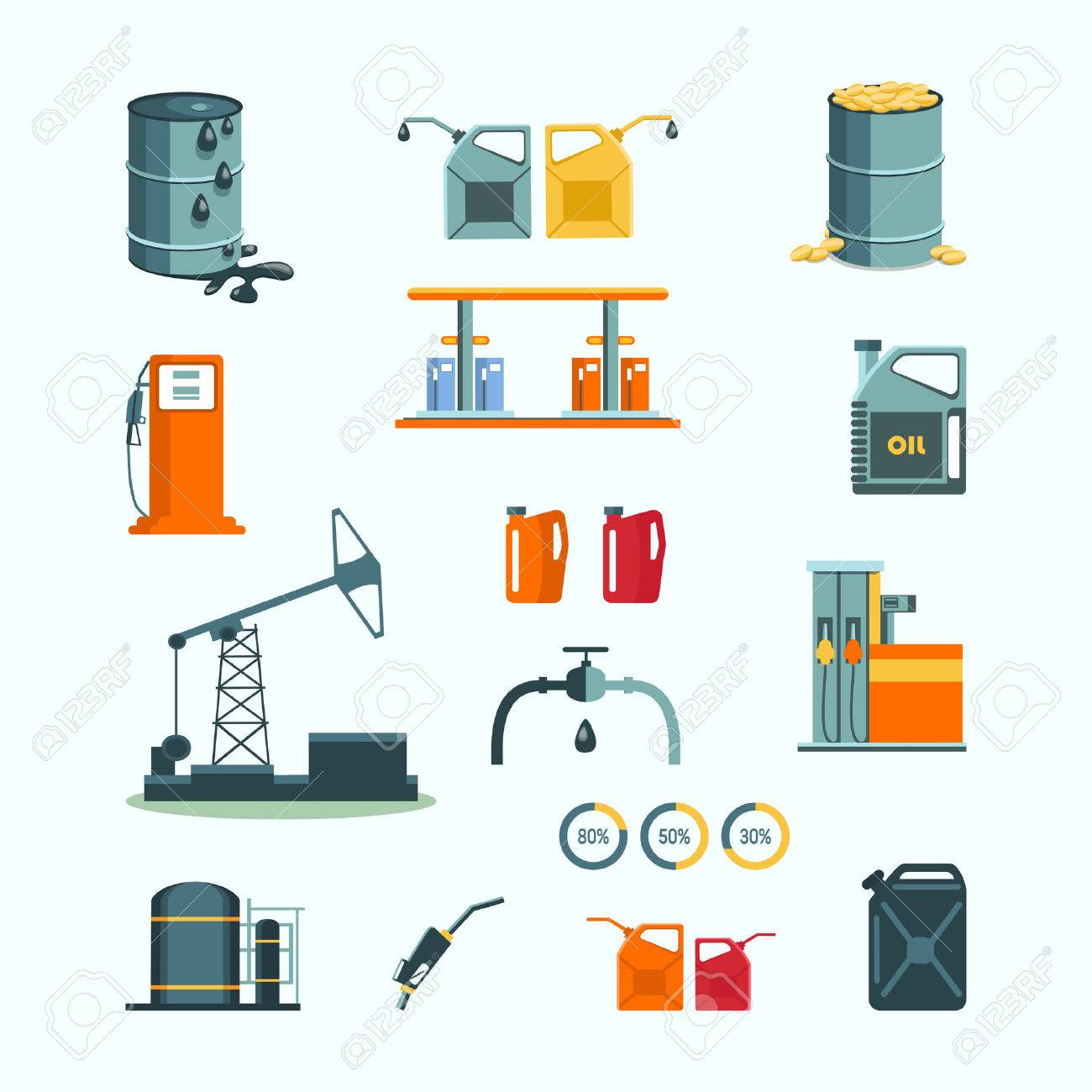 Oil and petrol industry vector objects - 42150965